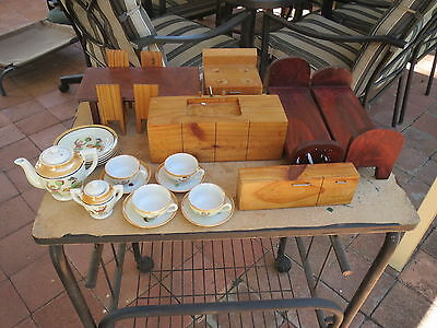 Dolls house furniture & part tea set Vintage Children's Porcelain Tea Set Made i