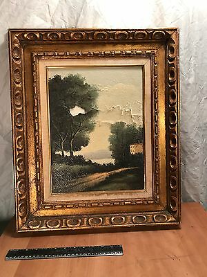 Vintage Unsigned Unknown Landscape Oil Painting With Frame