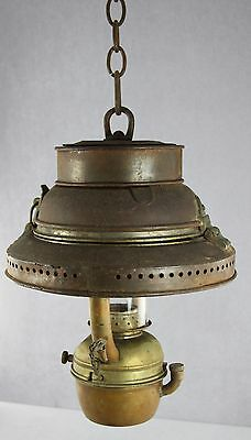 Antique Hanging Antique Ships Lantern Tin & Brass For Parts Or To Restore As Is