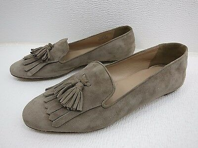 J. Crew Taupe Suede Leather Slippers Dress Loafers Flats Women's Shoes 8.5 M