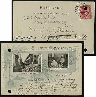 (Punch holes!) Suez Egypt multiview postcard, pmk Aden 1904,India stamp to USA