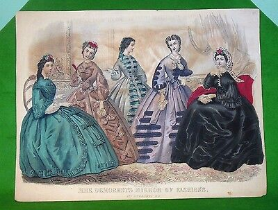 Antique 1800's Demorests Mirror of Fashions Engraved Print Capewell & Kimmel