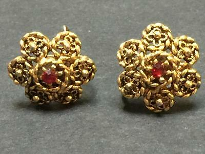 Antique Victorian Era Clip Earrings with Red Stones