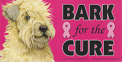 Wheaten Terrier BARK for the CURE Pink Ribbons Breast Cancer car MAGNET 4X8 USA