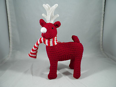 Red Reindeer Wearing Scarf Christmas Tree Ornament new holiday
