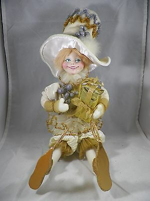 Ivory & Gold Pixie with Present Table Piece Christmas Home Decor new holiday