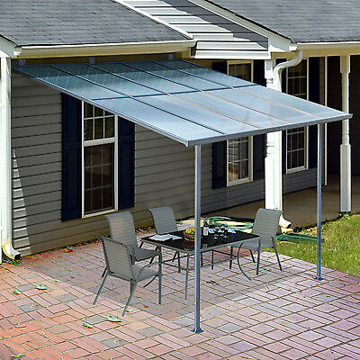 Outsunny 3 x 3m Wall Mounted Door Awning Patio Canopy Cover Aluminum Frame UV 50