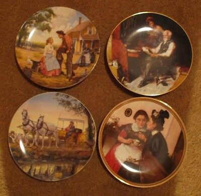 4 Edwin M. Knowles Collector Plates 2 Norman Rockwell ('83,'89)  2- Oklahoma '85