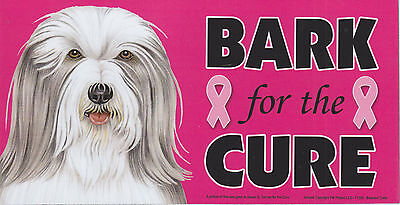 Bearded Collie BARK for the CURE Pink Ribbons Breast Cancer car MAGNET 4X8 USA