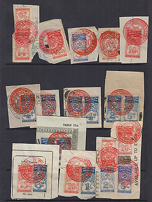 QLD 1930 Numerical IMPRESSED DUTY-incl 14/-Revenue- Elsmore Cat $230+(16 pieces)