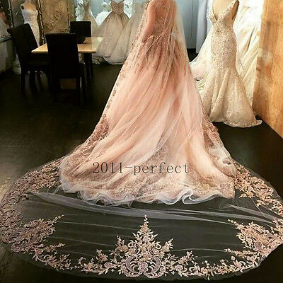 2017 Bridal Veils Wedding Veil White Ivory Champagne Pink Lace Appliques Beaded