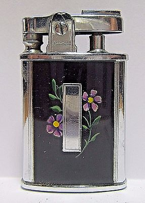 Vintage Ronson Gem Lighter, Enamel Floiwers, Made In USA, Very Good Condition