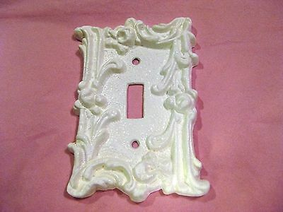 Vintage Victorian Painted White Shabby Iron Single Light Switch Wall Plate Cover