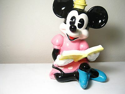"VINTAGE MINNIE MOUSE FIGURINE READING BOOK DISNEY CERAMIC COLLECTIBLE - 7"" tall"