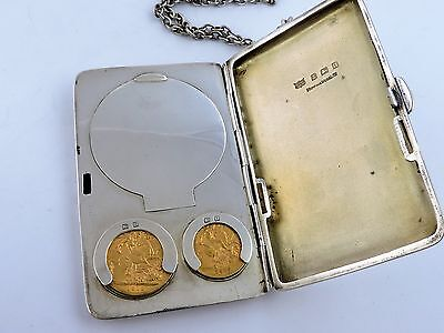 Full & 1/2 GOLD SOVEREIGN in SILVER CASE & COMPACT, Birmingham 1912 Mappin Webb