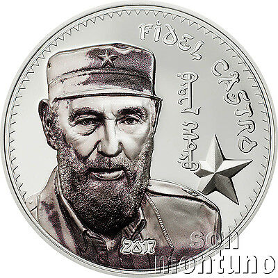 FIDEL CASTRO 1oz Silver High Relief Partially Colorized Proof Coin 2017 Mongolia