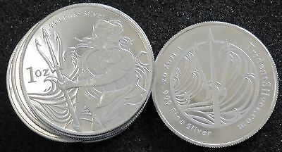 Lot Of 10 - 1 Oz Silver Trident Rounds (.999 Fine) - Bu!