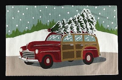 Pottery Barn Woody Car Crewel Embroidered Pillow Cover Lumbar New Christmas Tree