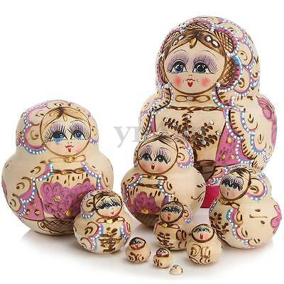 10Pz Set Legno Matriosca Russa Matrioska Matriosche Babooshka Bambole Regalo New