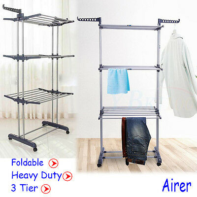 Super Large Clothes Airer 3Tier Indoor/Outdoor Laundry Dryer Rack Line Foldable