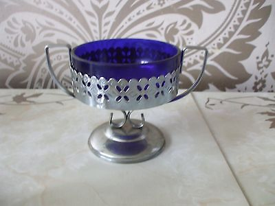 Vintage Retro Sugar Bowl Blue Glass in Chrome Handled Holder Queen Anne