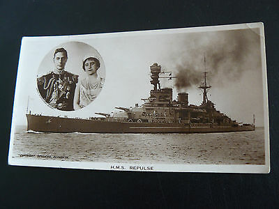 HMS REPULSE Real Photo RP Postcard showing King & Queen - Sellicks of Plymouth