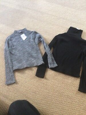 Girls Black Grey High Neck Jumpers New Age 7-8 Years