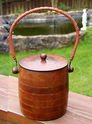 ANTIQUE TREEN BISCUIT BARREL WITH lid & WICKER HANDLE LOVELY SOLID PIECE