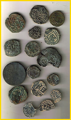 Lot (D)16 Spanish Colonial Pirate Treasure Coins