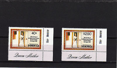Dominica 1980 80Th Birthday Of Queen Mother Set Corner Set Sg 732A -733A Nh