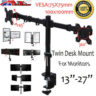 """Double Twin Arm LCD LED Monitor Mount Desk Stand for 13-27"""" Computer Screens TV"""
