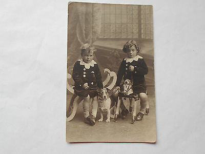 Two Pretty Edwardian Boys In Matching Suits Pet Terrier Dog & Hobby Horse C1908