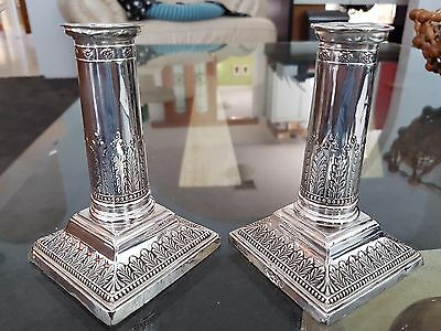 Antique HMSS Sterling Silver Corinthian Acanthus Candlesticks Sheffield 1908