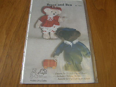 "1988 Becca and Ben 10""  jointed bears & clothes sewing pattern CR Crafts NEW"
