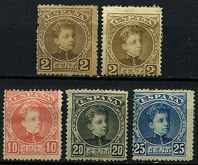 Spain 1901-5, 5 MH Stamps Cat £50+  #D44150