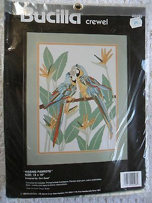 Crewel Embroidery Kit.  Kissing Parrots from Bucilla.  16 x 12 ins..   New