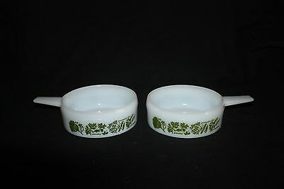 Vintage Pair Of Ovenware J-2639 White Soup Bowls With Spice Decoration, Pyrex ?