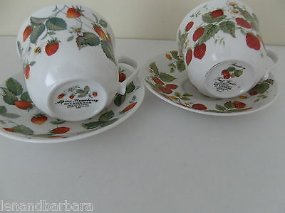 Roy Kirkham pair of Alpine Strawberry and Strawberry Breakfast Cups & Saucers