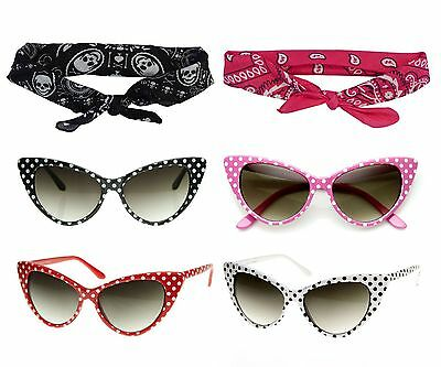 50s POLKA DOT CAT EYE SUNGLASSES BLACK PINK RED WHITE +BANDANA TIE HEADBAND SET