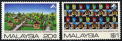 Malaysia 1987 SG#369-370 Shelter FOr Homeless MH Set #D42906