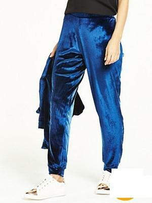 Ladies Midnight Blue Simple Velour Joggers V by VERY - sz 16