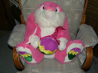 """SWEET!  Large 18"""" Lop earred Bunny Plush holding Ball Easter Eggs on Feet"""