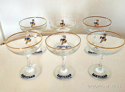 Set Of 6 Collectabe Vtg Babycham Glasses Yellow Bambi Fawn