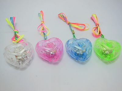 70 Flashing Plastic Heart Necklace For Disco Party Mixed Color