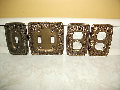 4 Hollywood Regency Ornate Brass Wall Plate Light Switch Cover LR28847 Set 1970s