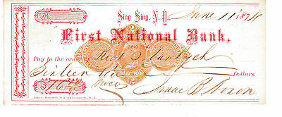 Very Old  Check First National Bank, Sing Sing, Ny 1878  With Revenue