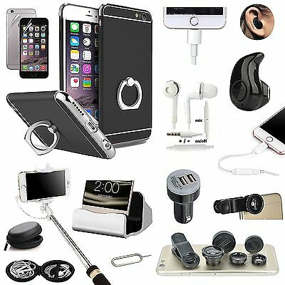Black Ring Holder Case Cover Earphone Monopod Lens Accessory For iPhone 7 Plus