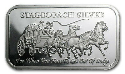 Lot of 2 - 1 Troy ounce Stagecoach Silver Bars  .999 Fine Silver (Mint sealed)