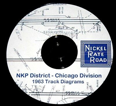 Nickel Plate Road NKP District-Chicago Division Track Chart Pages on DVD