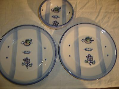 M A Hadley Country Scene 2 Plates & a Cereal Bowl flowers, bird & clouds 8605
